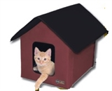 HOUSE KITTY HEATED BARN RED&BL