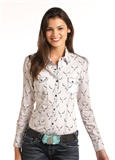 WOMEN'S COWGIRL SNAP BUF SKULL SHIRT