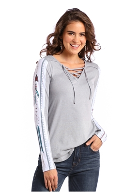 WOMEN'S LACE UP SHIRT