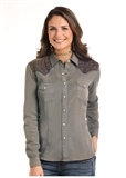 WOMEN'S HUNTER EMBROIDERED SNAP UP SHIRT