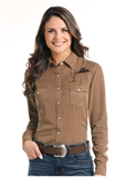 WOMEN'S BROWN CACTUS EMBROIDERED SNAP UP SHIRT