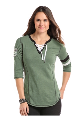 WOMEN'S LACE UP OLIVE SHIRT