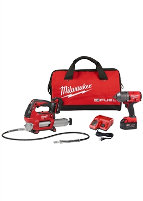 MILWAUKEE M18 FUEL IMPACT WRENCH AND GREASE GUN KIT