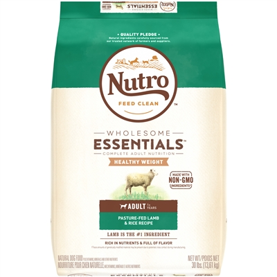 NUTRO WHOLESOME ESSENTIALS™ HEALTHY WEIGHT ADULT DRY DOG FOOD PASTURE-FED LAMB & RICE RECIPE 30LB