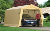 10' X 15' SHELTER LOGIC TAN COVER AUTO SHED