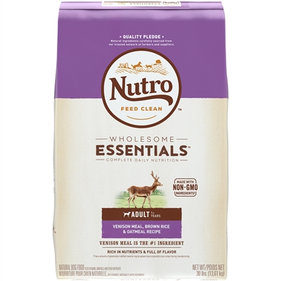 NUTRO VENISON MEAL, BROWN RICE & OATMEAL ADULT DRY DOG FOOD 30LB