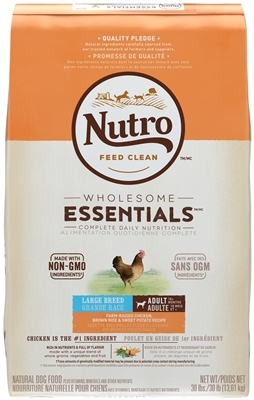 NUTRO WHOLESOME ESSENTIALS™ LARGE BREED ADULT DOG FOOD FARM-RAISED CHICKEN, BROWN RICE & SWEET POTATO RECIPE 30LB