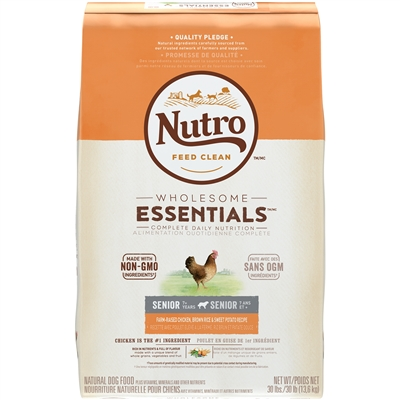 NUTRO WHOLESOME ESSENTIALS™ SENIOR DRY DOG FOOD FARM-RAISED CHICKEN, BROWN RICE & SWEET POTATO RECIPE 30LB