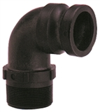 "Polypropylene Cam & Groove Coupler - 3"" I.D. Part ""F"" Male 90-Degree Adapter"