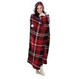 THROW HOODED PLAID RED