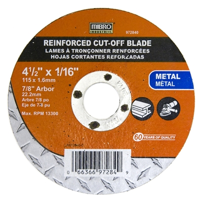"MIBRO 4 1/2"" X 1/16"" REINFORCED METAL CUT-OFF WHEEL"