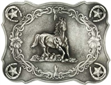 SCALLOPED RUNNING HORSE CLASSIC ANTIQUED ATTITUDE BELT BUCKLE