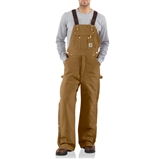 MEN'S DUCK ZIP TO THIGH QUILT LINED BIB OVERALLS