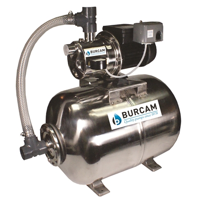 BURCAM 3/4 HP STAINLESS STEEL SHALLOW WELL JET PUMP SYSTEM ASSEMBLED ON 15 GALLONS STAINLESS STEEL TANK