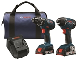 Bosch CLPK232A-181 18V 2-Tool Combo Kit with Compact Tough™ 1/2 In. Drill/Driver and 1/4 In. Hex Impact Driver