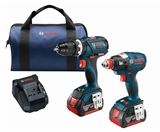 Bosch CLPK251-181 18 V 2-Tool Combo Kit with EC Brushless 1/4 In. and 1/2 In. Socket-Ready Impact Driver and EC Brushless Compact Tough™ 1/2 In. Hammer Drill/Driver