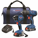 Bosch GXL18V-26B22- 18V 2-Tool Combo Kit with 1/2 In. Compact Drill/Driver and 1/4 In. Hex Impact Driver