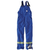MEN'S FLAME RESISTANT STRIPED DUCK QUILT LINED BIB OVERALL
