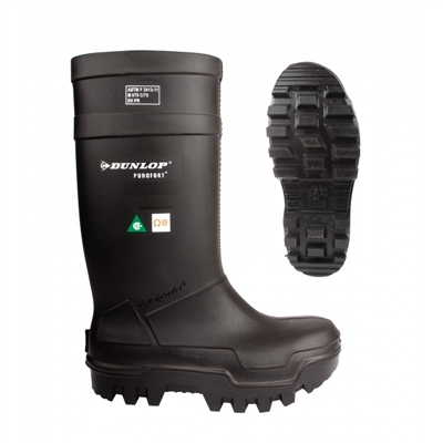 SIZE 6 DUNLOP THERMO BLACK SAFETY BOOTS