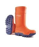 SIZE 8 DUNLOP THERMO ORANGE SAFETY BOOTS