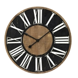 CLOCK WOOD BLK FACE 35.5IN
