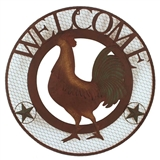 SIGN ROUND METAL ROOSTER 26IN