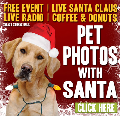 AT SELECT TSC STORES: PET PHOTOS WITH SANTA! Free event! Live Santa Clause! Live radio! Coffee and donuts. Click here.